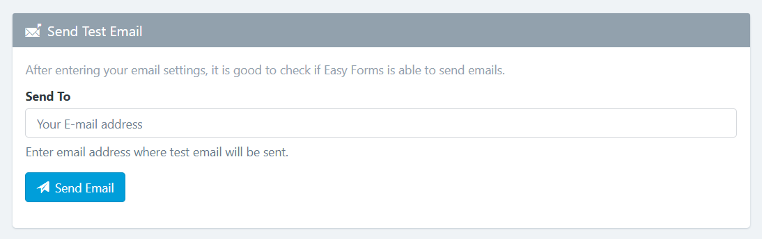 Easy Forms - Email Setup - Send Test Email