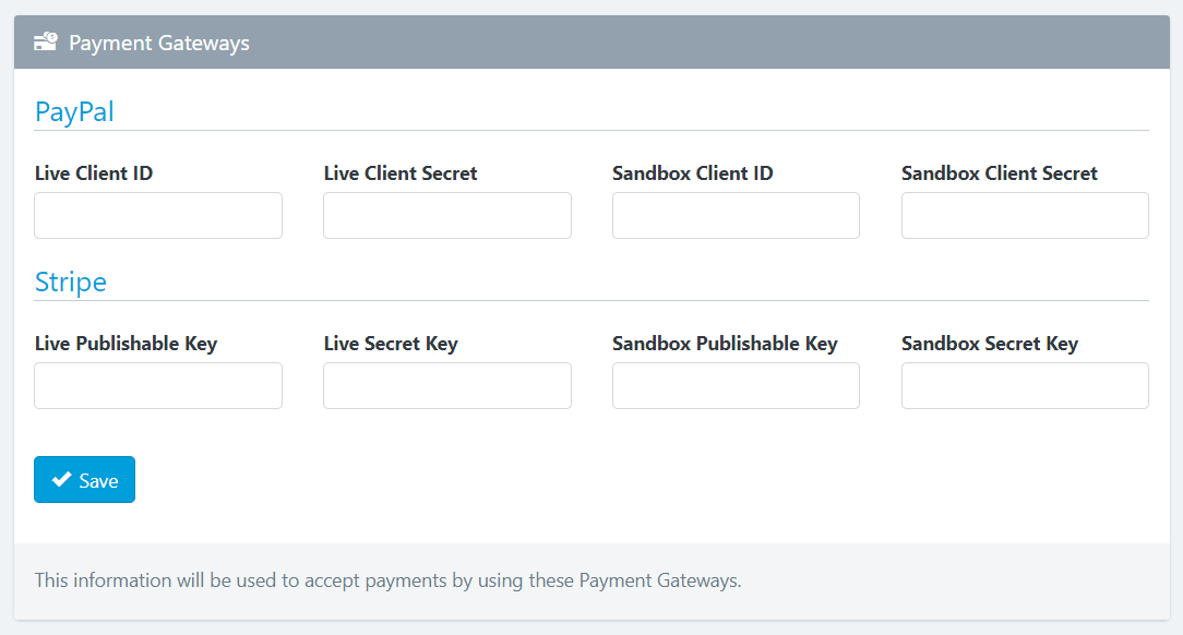 Easy Forms - Subscriptions - Payment Gateways API Keys