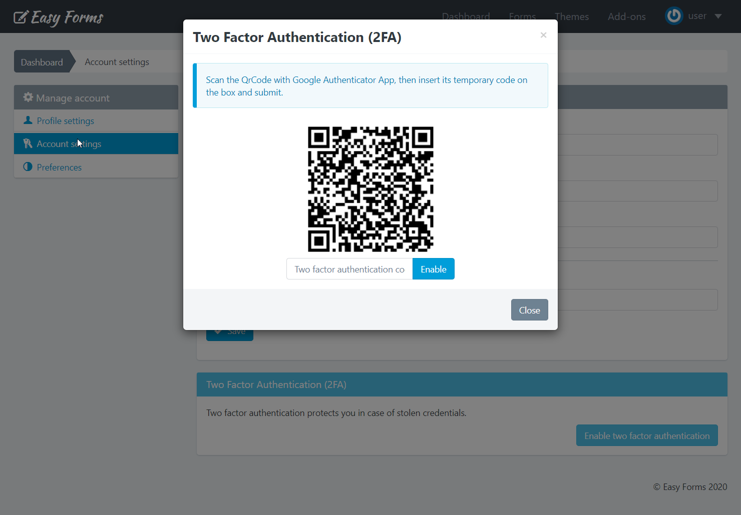 Enable 2FA on user account - Easy Forms